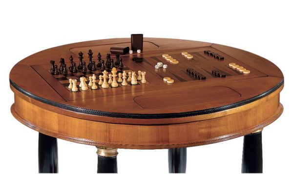 Dal Negro Large Round Gaming Table - Chess/Draughts and Backgammon Boards