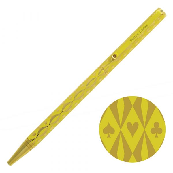 Harlequin Gold Plated Pen - Yellow with gold suit symbols
