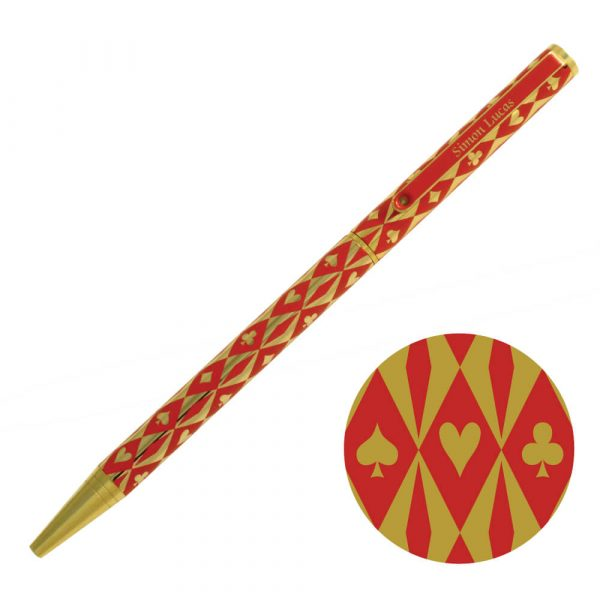 Harlequin Gold Plated Pen - Red with gold suit symbols