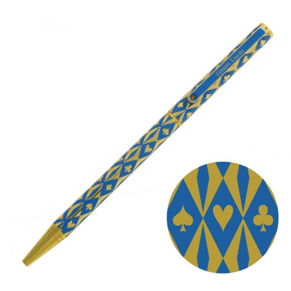 Harlequin Gold Plated Pen - Blue with gold suit symbols