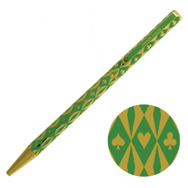 Luxury Bridge Pen - Harlequin Gold Plated Pen - Green with gold suit symbols