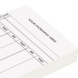 Personalised Rubber Score Cards - White