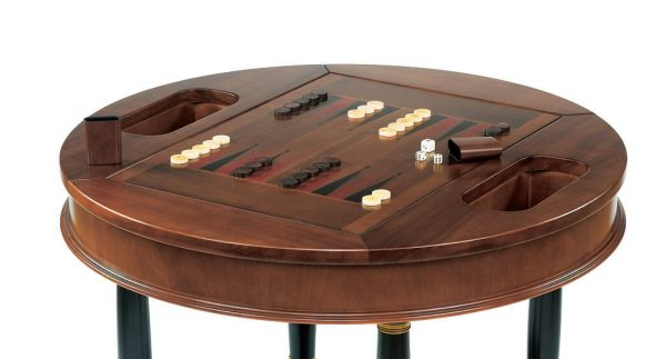 Dal Negro Round Gaming Table - Backgammon Board & Pieces