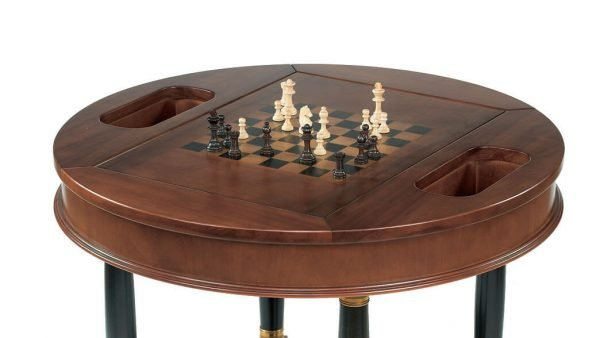 Dal Negro Round Gaming Table - Chess/Draughts Board & Staunton Chess Pieces