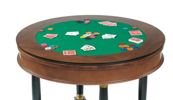 Dal Negro Round Gaming Table - Baize Card Play Surface, Chips & Playing Cards