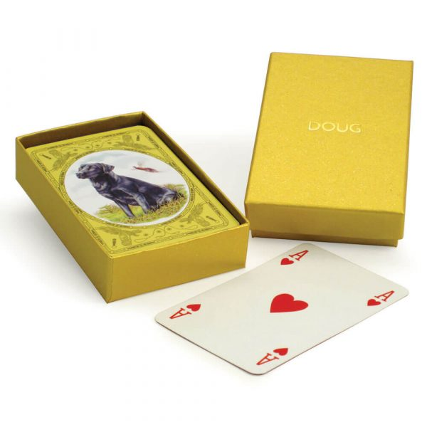 Black Labrador Playing Cards with Personalised Gold Box