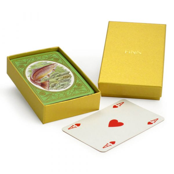 Brown Trout Playing Cards with Personalised Gold Box