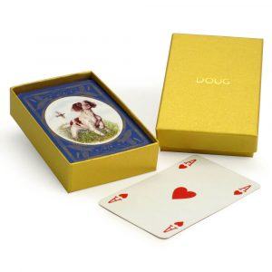 English Springer Spaniel Playing Cards with Personalised Gold Boxdor Playing Cards with Personalised Gold Box