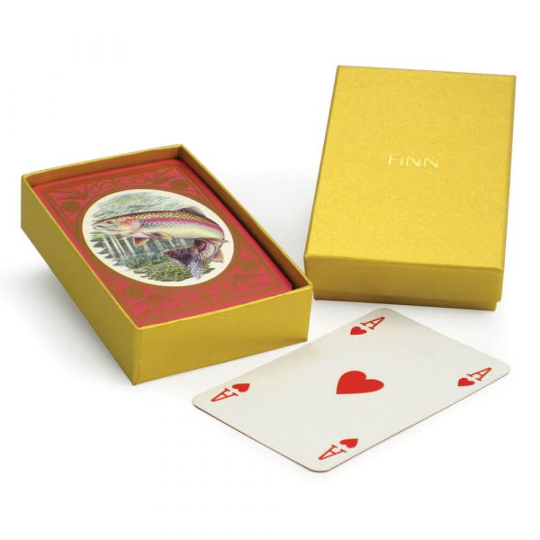 Rainbow Trout Playing Cards with Personalised Gold Box