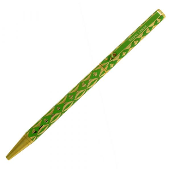 Luxury Bridge Pen - Harlequin Gold Plated Pen - Green
