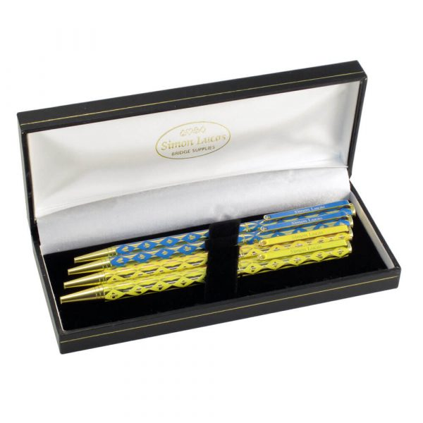 Harlequin Luxury Bridge Pens - Blue and Yellow