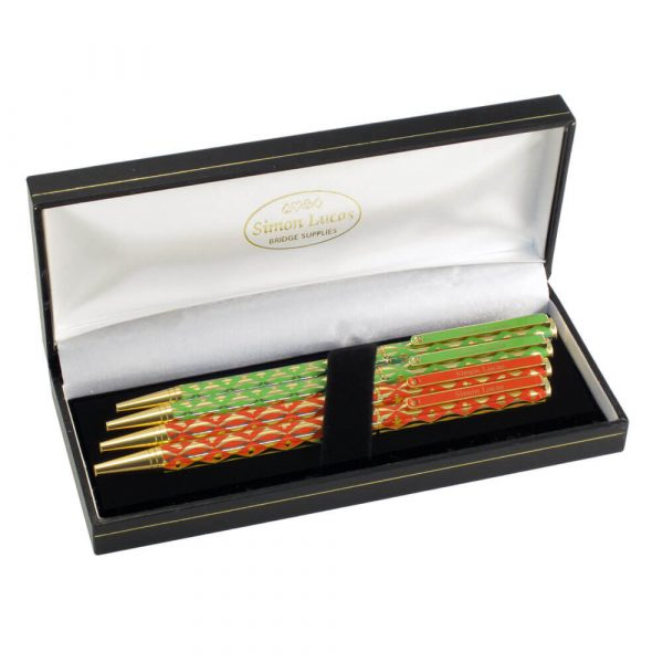 Harlequin Luxury Bridge Pens - Red and Green