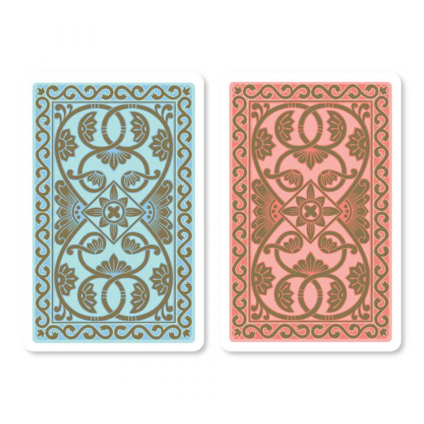 Emporium Bridge Playing Cards in Duck Egg Blue & Coral - Card Back Design