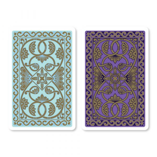 Emporium Bridge Playing Cards in Duck Egg Blue & Purple - Card Back Design