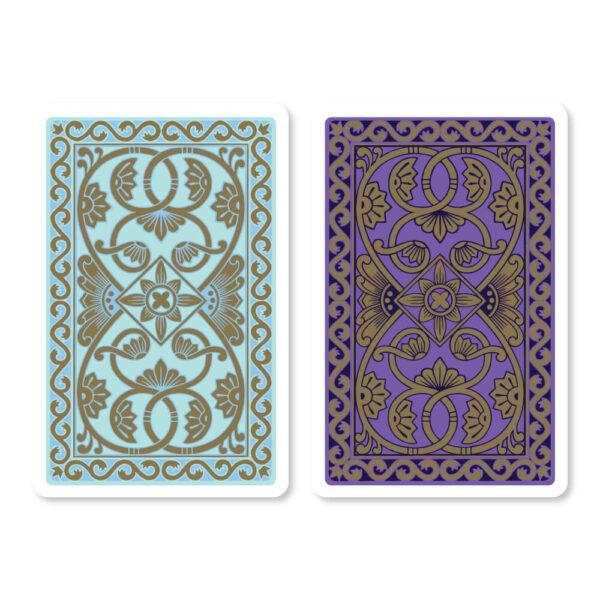 Emporium Bridge Playing Cards in Duck Egg Blue & Purple - Card Back Design