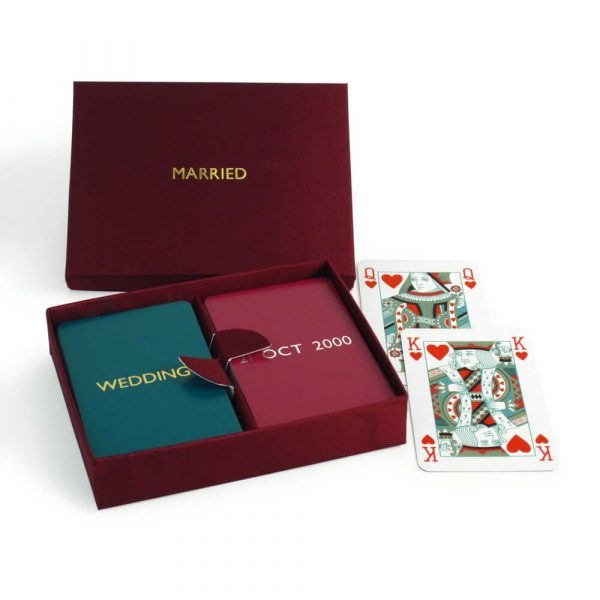 Personalised Playing Cards - Garnet Box, Teal and Fuchsia Cards