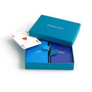 Personalised Playing Cards - Kingfisher Box, Aqua and Purple Cards