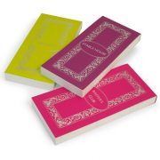 Luxury Personalised Bridge Score Pads - Absynthe, Damson and Bubblegum with Silver Foil
