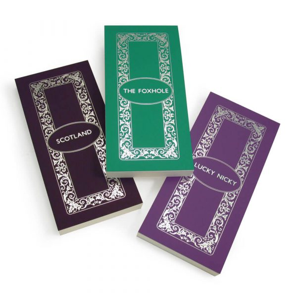Luxury Personalised Bridge Score Pads - Violet, Atlantic and Lavender with Silver Foil