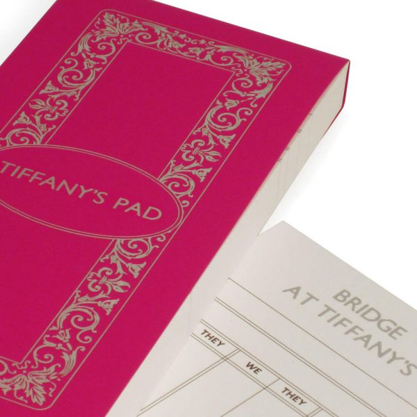 Luxury Personalised Bridge Score Pads - Bubblegum with Silver Foil