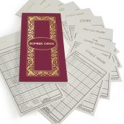 Luxury Personalised Bridge Score Pads - Damson with Gold Foil