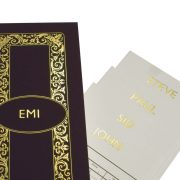 Luxury Personalised Bridge Score Pads - Violet with Gold Foil