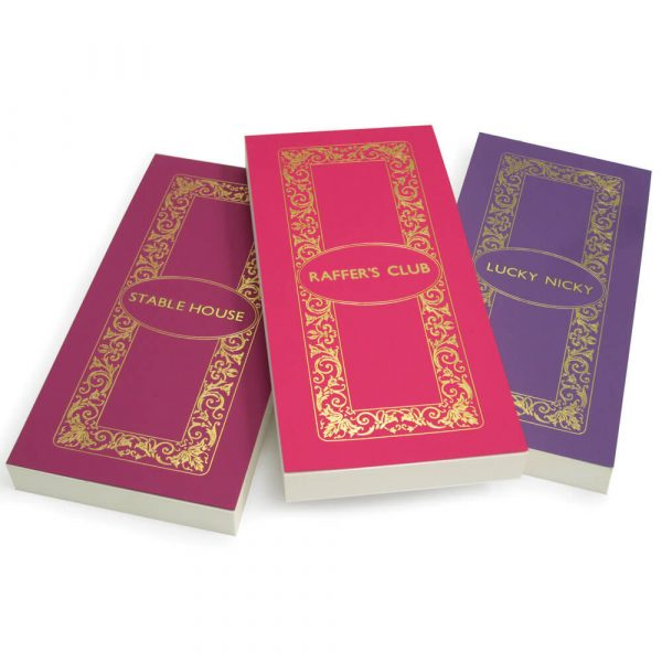 Luxury Personalised Bridge Score Pads - Damson, Bubblegum and Lavender with Gold Foil