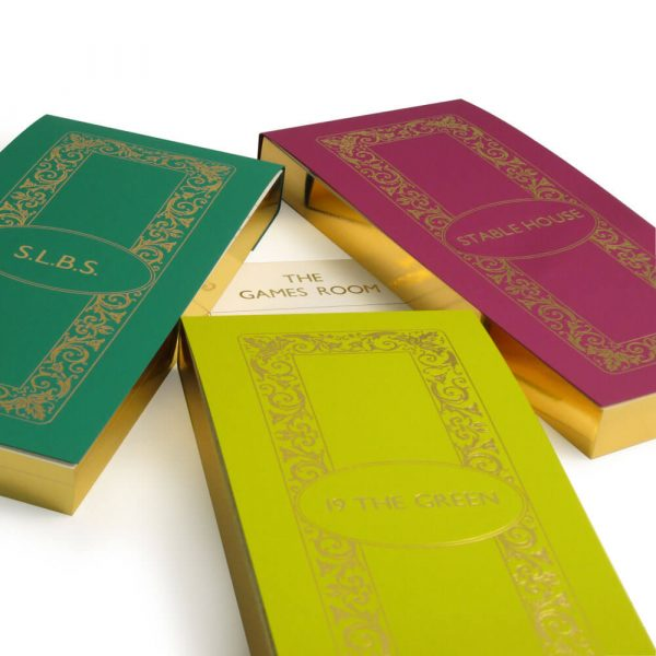 Gilt Edged Luxury Personalised Score Cards - Atlantic, Absythe and Damson with Gold Gilding