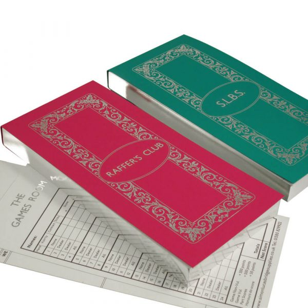 Gilt Edged Luxury Personalised Bridge Score Pads - Atlantic and Bubblegum with Silver Gilding