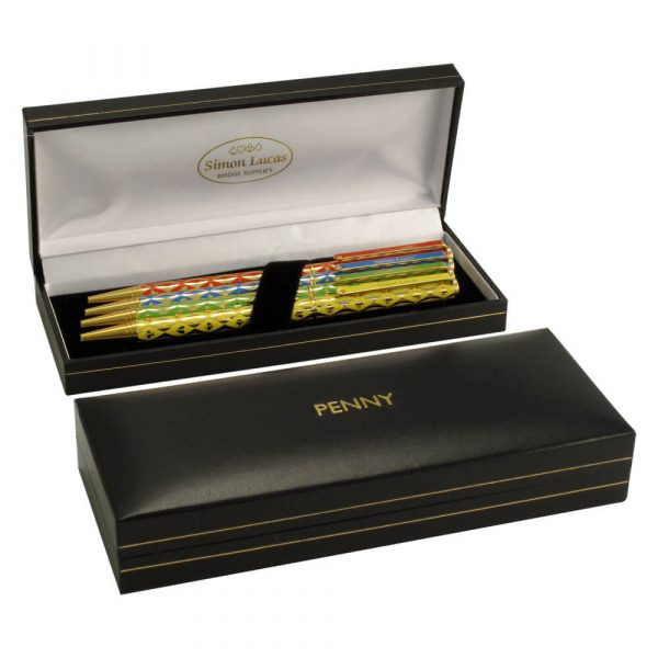 Harlequin Luxury Gold Plated Bridge Pen Set with Personalised Box