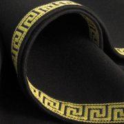 Round Greek Key Baize Bridge Cloth - Black