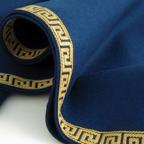 Round Greek Key Baize Bridge Cloth - Navy Blue