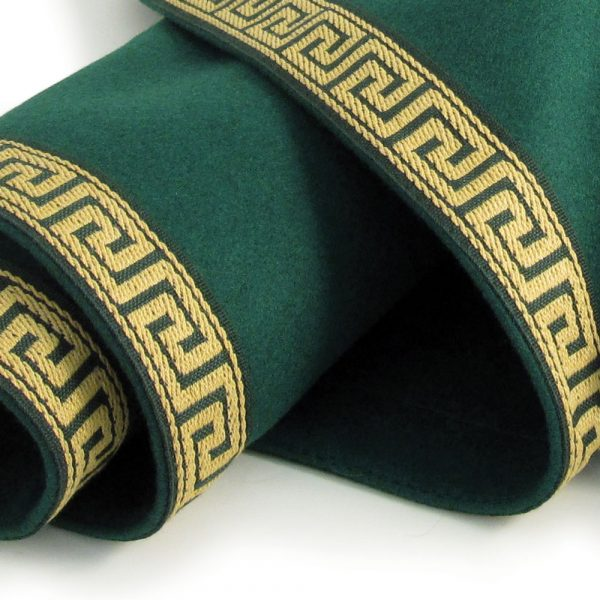Round Greek Key Baize Bridge Cloth - Green