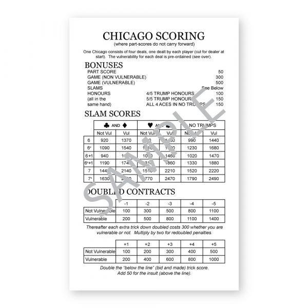 Chicago Scoring Table