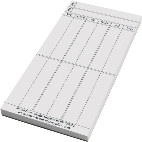 Pad of Wide Rubber Bridge Score Cards