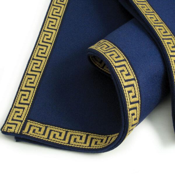 Luxury Blue Baize Bridge Cloth - Greek Key Border