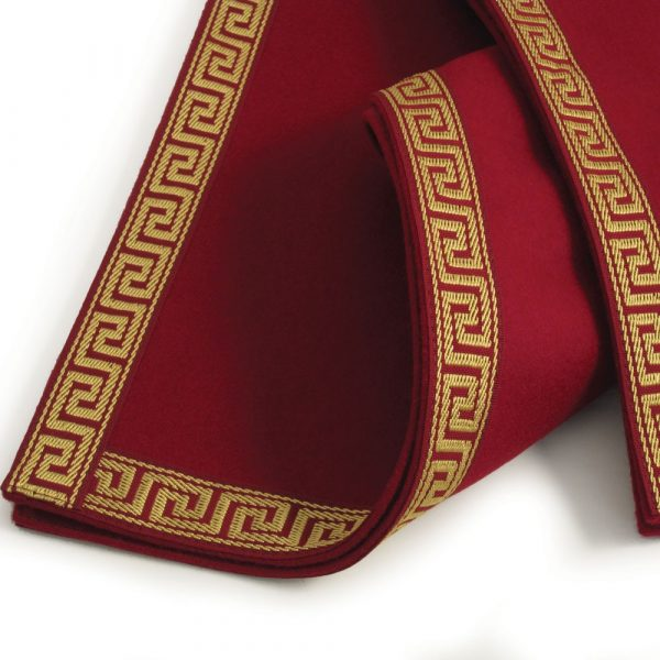 Luxury Burgundy Baize Bridge Cloth - Greek Key Border