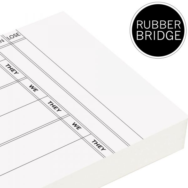 Loose Pack Rubber Bridge Score Cards - white trim