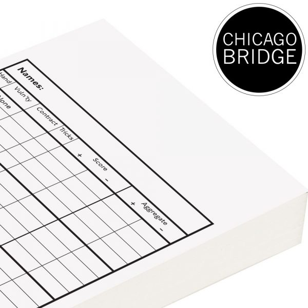 Loose Pack Chicago Bridge Score Cards - White Trim