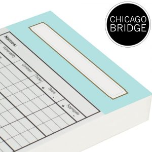 Chicago Bridge Score Cards - Duck Egg Blue Trim