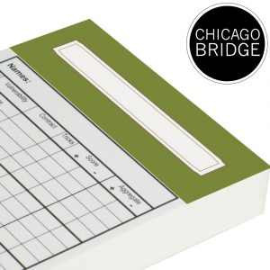Spare Chicago Bridge Score Cards - Olive Green Trim