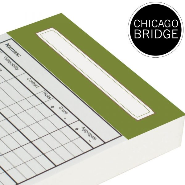 Spare Chicago Bridge Score Cards - Olive Green Trim