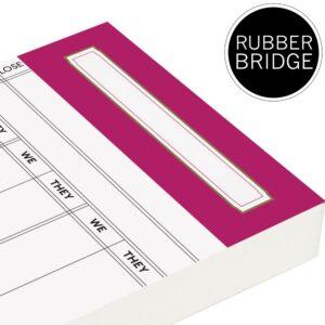 Replacement Rubber Bridge Score Cards - Rose Pink Trim