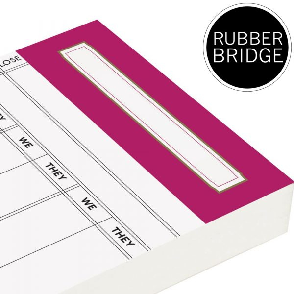 Replacement Rubber Bridge Score Cards - Rose Pink Trim