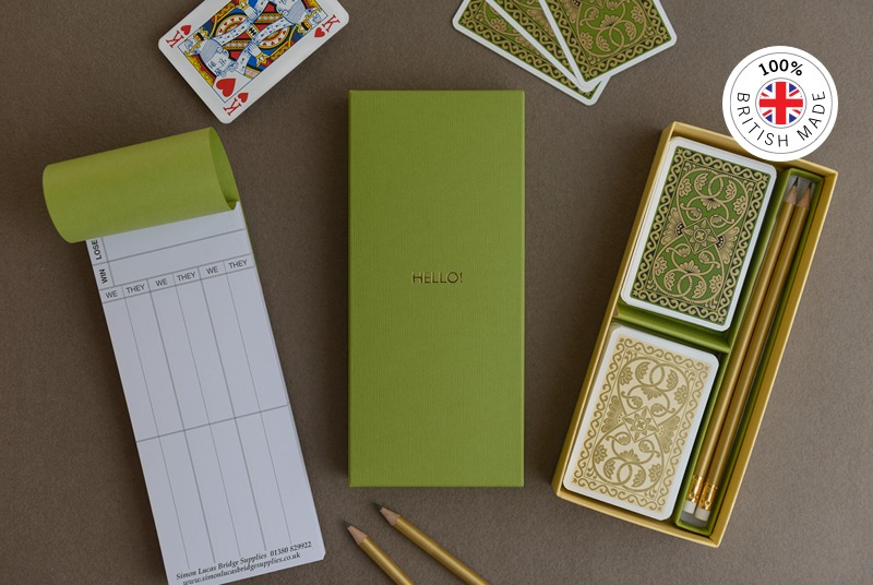 Emporium Green Bridge Gift Set with Rubber Score Cards. Personalised with gold foil blocking