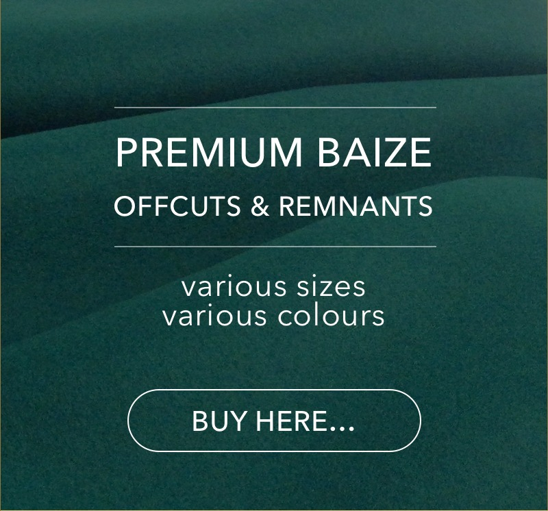 Premium quality baize offcuts and remants - various sizes and colours