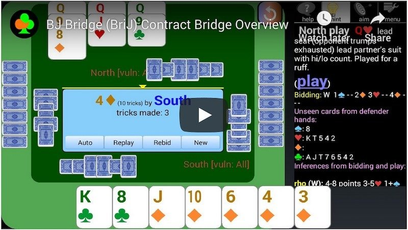 Bj Brij contract bridge app video screenshot
