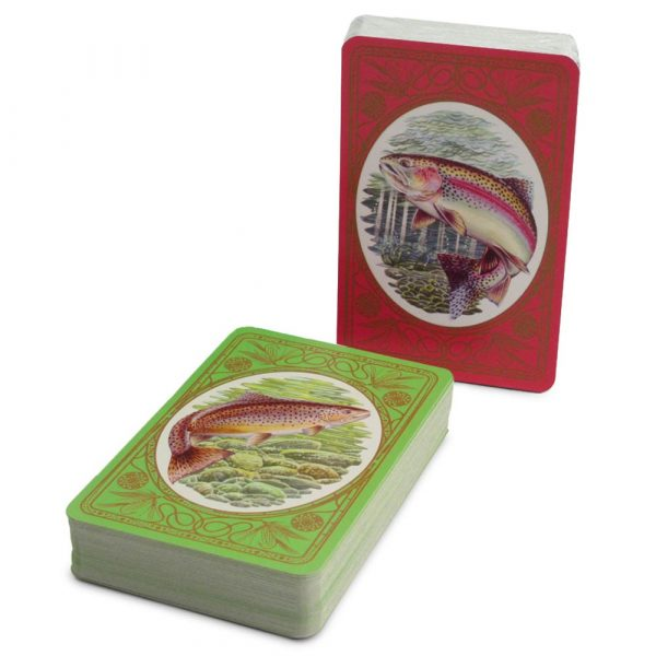 brown and rainbow trout playing cards