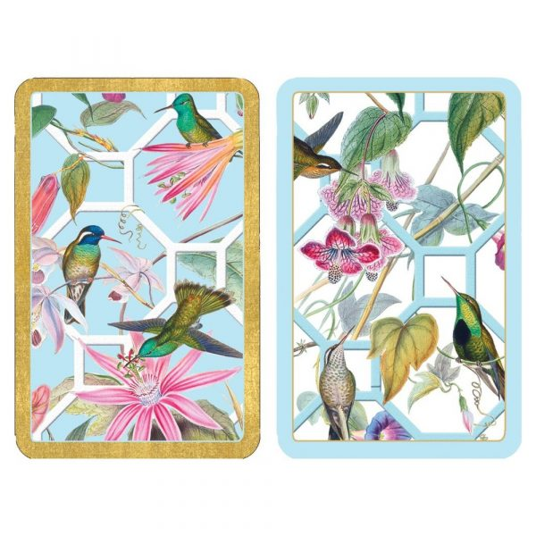 caspari humming bird trellis playing cards