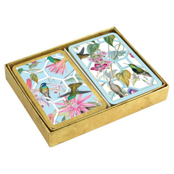caspari humming bird trellis boxed playing cards